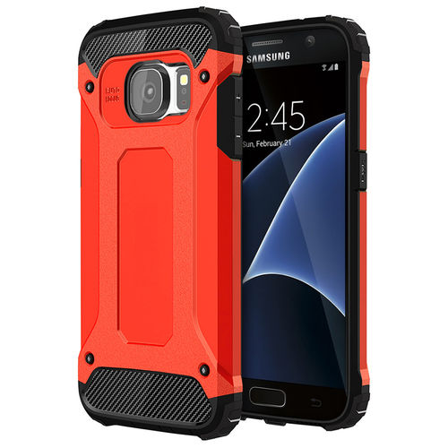 Red Military Defender Heavy Duty Shockproof Case - Samsung Galaxy S7